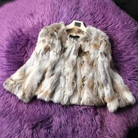 Top Selling Natural Yellow Women's 100% Real Farm Rabbit Fur Short Coat Jacket