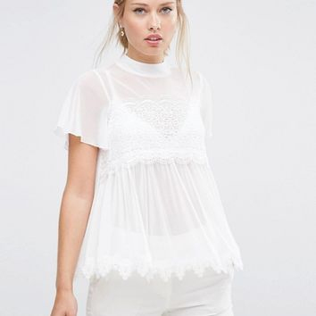 ASOS Top in Mesh and Lace Mix with Short Sleeve at asos.com
