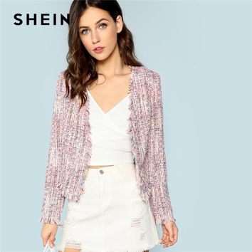 SHEIN Multicolor Frayed Trim Tweed Jacket Office Ladies Elegant Long Sleeve Coat Women Autumn Collarless Casual Jackets