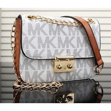 MK Fashionable Women Shopping Bag Leather Metal Chain Crossbody Satchel Shoulder Bag White