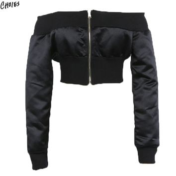 Black Off Shoulder Cropped Bomber Jacket Women Zip up Front and Back Long Sleeve High Street Coats