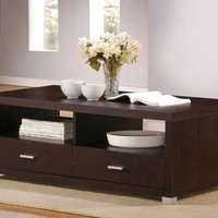 Redland collection espresso finish wood coffee table with brushed steel handles and 2 lower drawers