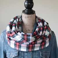 Plaid Infinity Scarf, Tartan, Womens Scarf, Fall Scarf, Mens Scarf, Flannel Scarf, Circle Scarf, Gift for Her, Loop Scarf, Back to School
