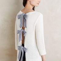 Paper Crown Bow-Back Pullover in Ivory Size: