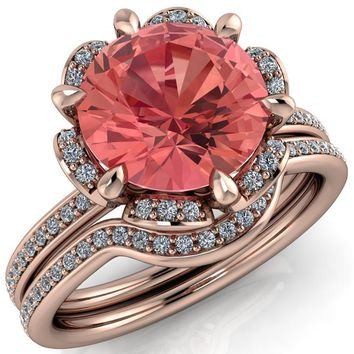 Daisy Round Lab-Created Padparadscha Sapphire Floral Diamond Basket Design and Diamond Shoulders Ring