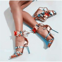 Colorful Butterfly Metallic Leather Turquoise Strappy High Heel Sandals Pump