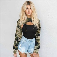Camouflage Personality Ultra Short Long Sleeve Hooded Sweater Women Crop Tops Hoodie