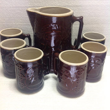 Antique Burley-Winter Brown Salt Glaze Crockery Pottery Pitcher and Mug Set