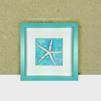 Beach Decor in Aqua.  Bathroom Beach Decor.  Seashell Shadow Box Framed Art for Coastal Inspired Home.