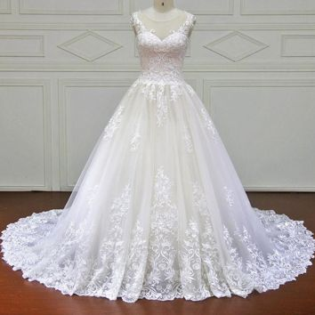 Lace Ball Gown Wedding Dress Illusion Sweetheart Court Train Bride Dresses