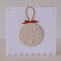 Wood on Christmas card - embellished with faux pearls - for pearl/wood lovers