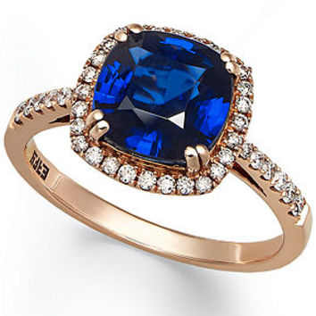 Velvet Bleu by EFFY 14k Rose Gold Ring, Diffused Sapphire (2-1/2 ct. t.w.) and Diamond (1/4 ct. t.w.) Square Ring - Rings - Jewelry & Watches - Macy's