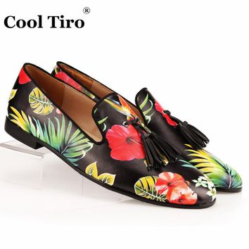 COOL TIRO Tassel Men Loafers Flowers painted Genuine Leather Slipper Smoking Slip ons Shoes Party Wedding Dress Shoes Men's Flat