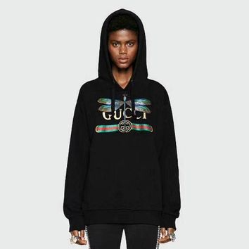 """Gucci"" Women Casual Fashion Letter Dragonfly Pattern Embroidery Long Sleeve Hooded Sweater Tops  I-AGG-CZDL"
