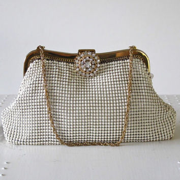 WHITING & DAVIS Purse, Vintage, 1950s, Designer Purse, Pin Up, FORMAL Purse, Evening Bag,