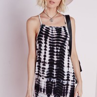 Missguided - Jersey Square Neck Strappy Cami Dress Black/Cream Tie-Dye