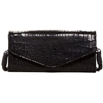 Liebeskind Berlin Doro Croc Print black Suede leather Wallet Clutch