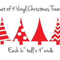 4 Vinyl Christmas Tree Decals DIY Stickers 6in tall