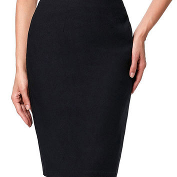 2017 Women Skirts Jupe Courte Women's OL Slim High Stretchy Hips Wrapped Black White Skirt Faldas Laides High Waist Skirt