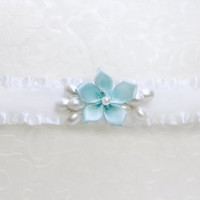 Something blue garter, Blue flower for wedding garter, Blue garter, something blue for wedding, Small Simple garter, Minimalist wedding