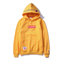 Champion x Supreme Fashion Pullover Embroidery Tops Sweater Hoodie