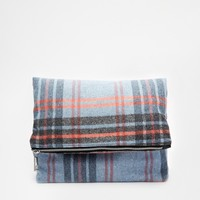 ASOS Brushed Check Fold Over Clutch Bag