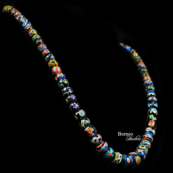 "Glass Bead Necklace From Borneo.NEW BEADS.Traditional Tribal Dayak Currency Trade Bead Designs Bohemian Patterned Dark Beads 13.5""L/3oz"