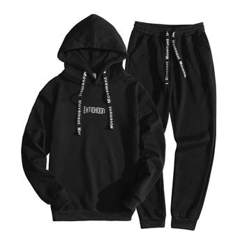 2018 New Spring M-3XL Mens Sportswear Slim Fit Tracksuit Men Casual Hooded Mens Tracksuit Fitness Clothing Chandal Hombre