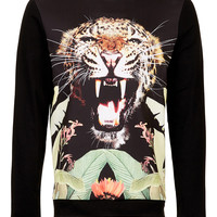 Black Jungle Leopard Printed Sweatshirt - New In - TOPMAN USA