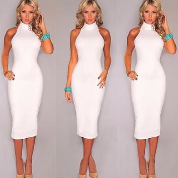 White Turle Neck Sleeveless Bodycon Midi Dress