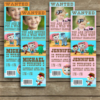 Disney Sheriff Callie's Wild West - Birthday Invite Tickets - Blue & Pink - High Quality 300 DPI- Customized -Party Printables