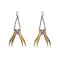 PHOENIX earrings , amethyst vintage brass leaves
