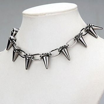 Women's Men's Punk Cool Spikes Studs Rivets Choker Collar Necklace Jewelry Gift