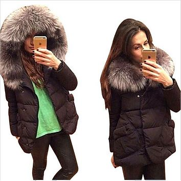 2017 New Winter Women Jackets Ultra Light Coat Cotton Full Sleeve Covered button with pocket women Hat with Feathers Down Jacket