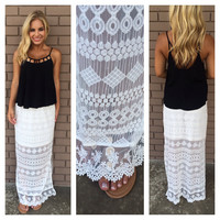 White Vanity Fairest Lace Maxi Skirt