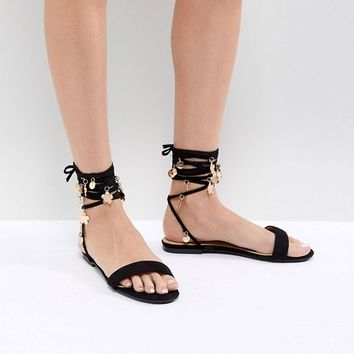 RAID Elida Black Ankle Tie Sandals at asos.com