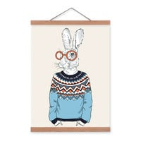 Hare Rabbit Modern Fashion Gentleman Animals Portrait Hippie A4 Framed Canvas Painting Wall Art Prints Picture Poster Home Decor