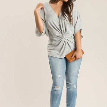 Plus Denise Grey Twist Knit Top