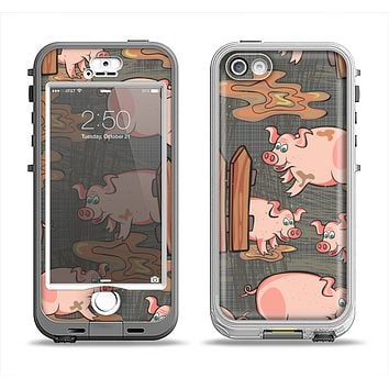 The Cartoon Muddy Pigs Apple iPhone 5-5s LifeProof Nuud Case Skin Set