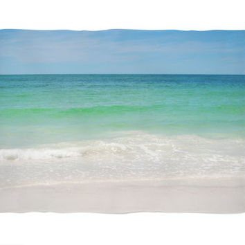 Beach Anna Maria 2 - Fleece Blanket, Pastel Colored Decor Accent, Blue & Green Coastal Home Ocean Surf Style Throw. 30x40 50x60 60x80 Inches
