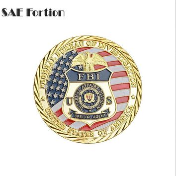 Federal Bureau Of Investigation Coin Gold Plating Commemorative Saint Michael Gift