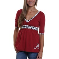 Alabama Crimson Tide Womens Tackle V-Neck Top - Crimson/Houndstooth