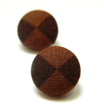 Button Earrings Brown Checked Pattern by PushTheButtons on Etsy