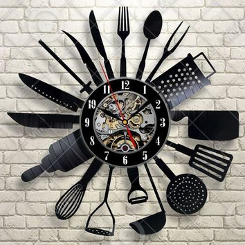 Cutlery Wall Clock, Modern Design Spoon Fork And More Clock. Silent with a Retro Design