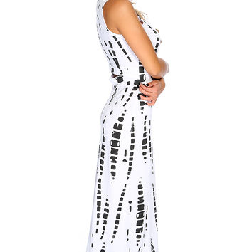Sexy White Sleeveless Two Tone Back Cut Out Causal Maxi Dress