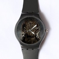 Custom Game of Thrones Watches Classic Black Plastic Watch WT-0821