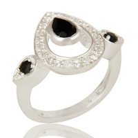 925 Sterling Silver White Topaz And Black Onyx Gemstone Ring