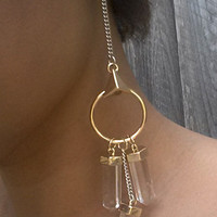 One More Time Clear Quartz Drop Earrings