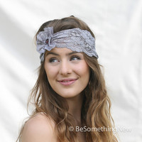 Wide Stretchy Lace Headband with big flower in blue gray Bohemian Headband Stretchy Wide Lace Headband for Women, Boho Headband