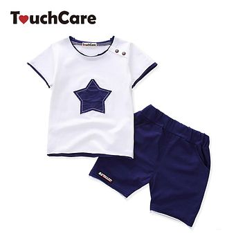 Boys Clothing Set Star Appliques Cotton T-shirt Pants Suit Baby Summer Tracksuit Newborn Casual Costume Baby Boy Clothes Set
